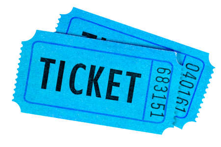raffle ticket: Two blue movie or raffle tickets isolated on a white background.