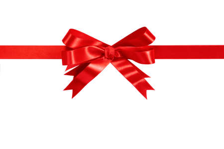 christmas bow: Red gift ribbon bow straight horizontal isolated on white. Stock Photo