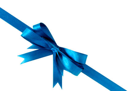 christmas bow: Blue bow gift ribbon corner diagonal Stock Photo