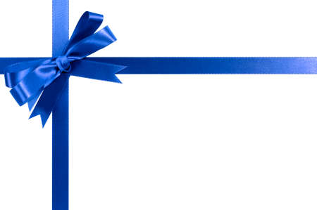 christmas bow: Blue bow gift ribbon Stock Photo