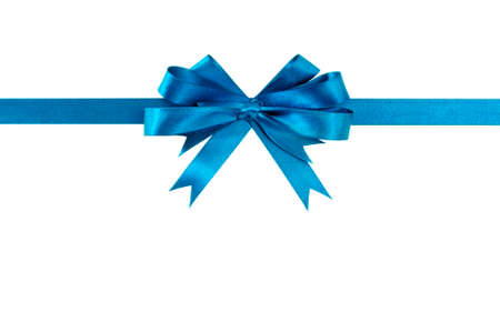 christmas bow: Blue bow gift ribbon straight horizontal