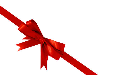 angled: Red bow gift ribbon corner diagonal