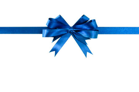 Blue bow gift ribbon straight horizontal Фото со стока - 65112640