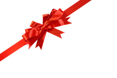 gift ribbon: Corner diagonal red bow gift ribbon isolated on white