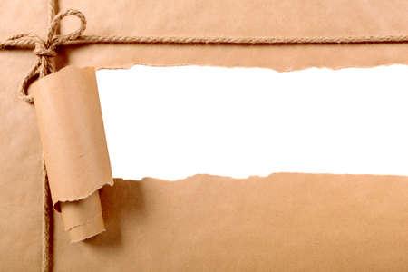Torn paper parcel strip