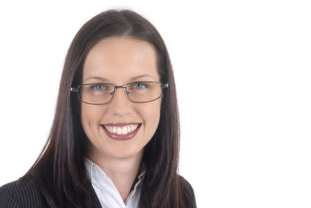 female lawyer: Female lawyer young professional wearing suit and glasses, white background