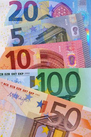 Various Euro currency bills
