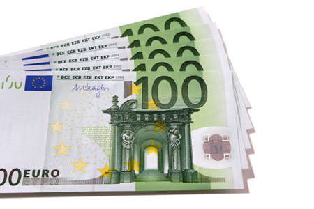 Fan stack of Euro 100 banknotes