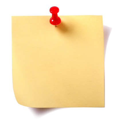 Yellow square sticky post note with pushpin  isolated on white Stockfoto