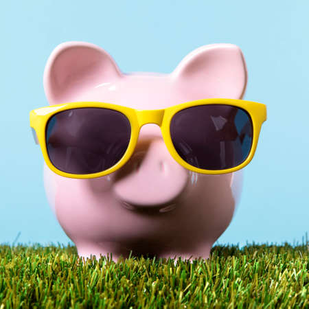 Piggy bank grass freedom wealth concept Stock fotó