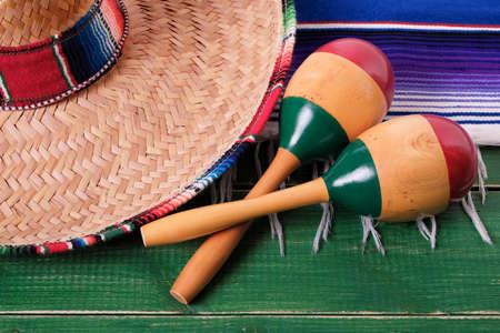 Mexico cinco de mayo festival mexican sombrero maracas closeup
