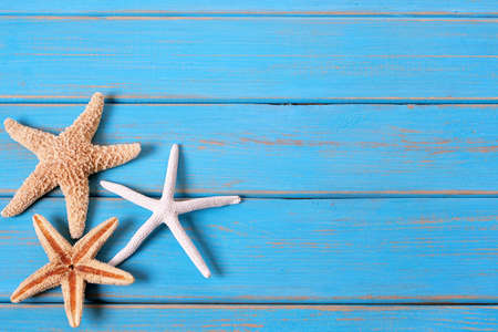 Tropical beach summer starfish blue wood background Stock Photo