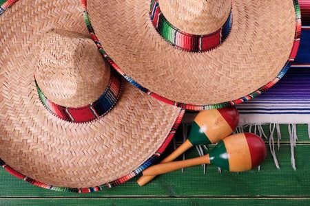 Mexico fiesta carnival sombrero maracas closeup top view