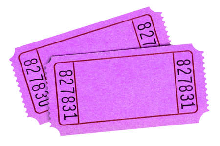 Blank pink raffle tickets isolated