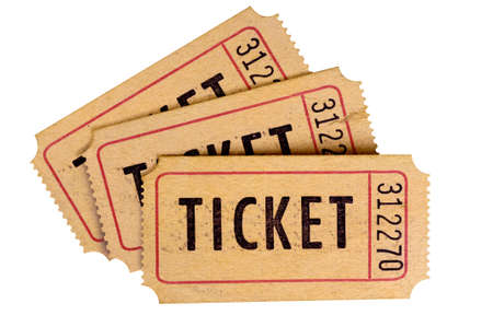 Old used torn tickets isolated white background