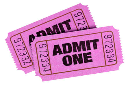 Pink admit one tickets isolated white background Stock Photo