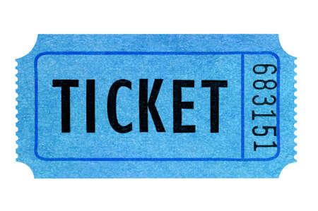 Blue movie ticket isolated on white Stock Photo