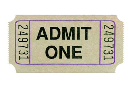 Old admit one ticket isolated white