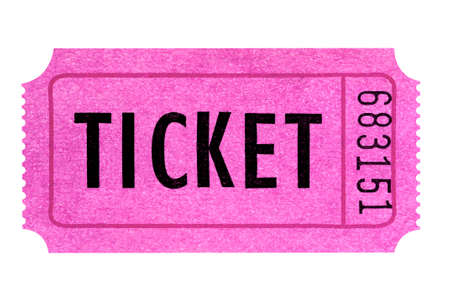 Pink ticket isolated white background.