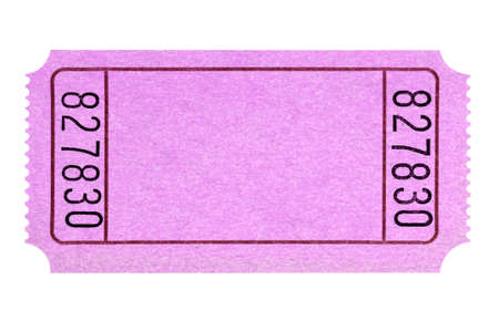 Blank pink movie or raffle ticket stub isolated Banque d'images