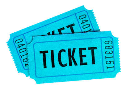 Two blue cinema tickets isolated white Stock Photo