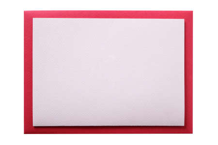 Plain blank invite card red border isolated