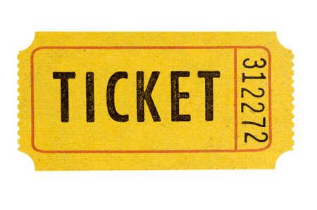 Orange admission ticket isolated white
