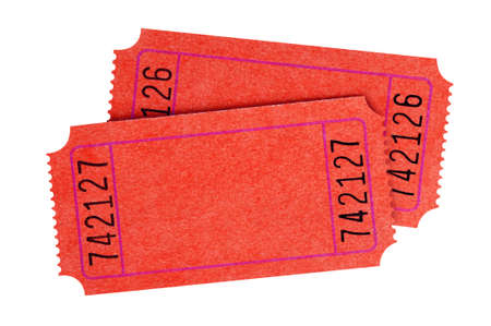 Two blank red movie tickets isolated Stock Photo