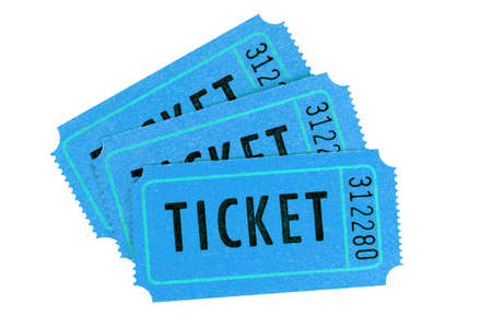 Three blue movie tickets isolated on a white background.