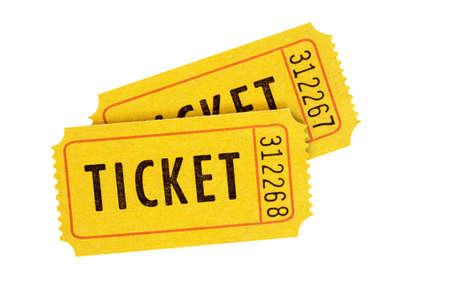 Orange admission tickets isolated on white