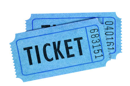 Two blue movie or raffle tickets isolated on white