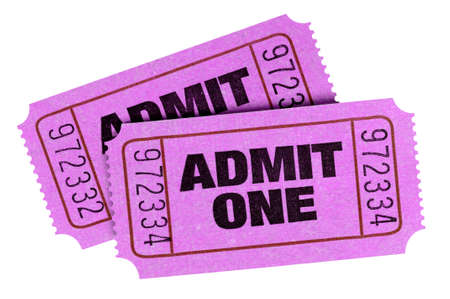 Two pink purple admit one tickets isolated Stock fotó