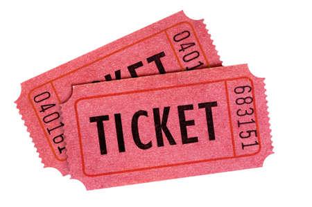 Zwei alte rote Eintrittskarten isoliert weiß Standard-Bild