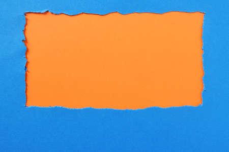 Torn paper background blue orange strip frame 스톡 콘텐츠