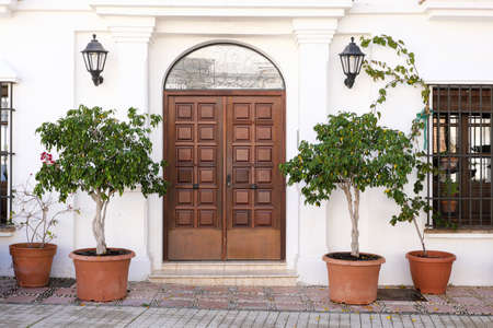 Small boutique luxury hotel front door entrance Spain