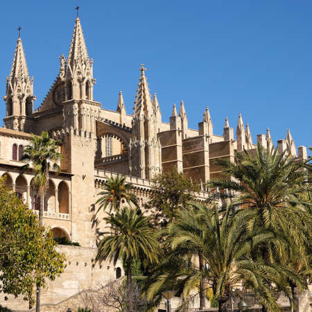 Palma Mallorca cathedral Santa Maria La Seu sunny side view Stock Photo
