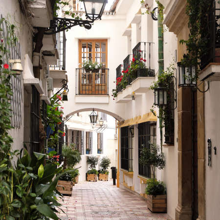 Marbella old town Andalucia Spain typical Spanish village whitewashed houses