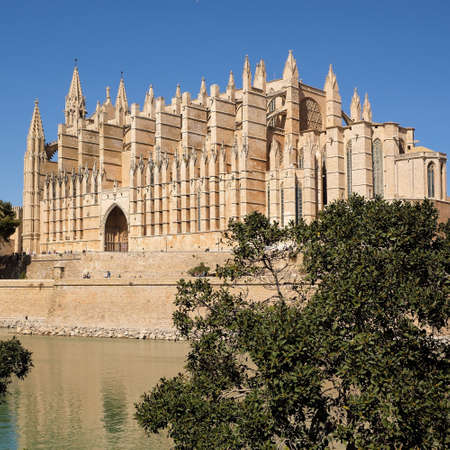 Palma de Mallorca, Spain - March 24, 2019 : side view of the famous gothic cathedral Santa Maria La Seu