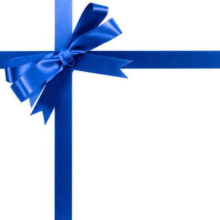 Royal blue gift ribbon bow horizontal corner border isolated on white.