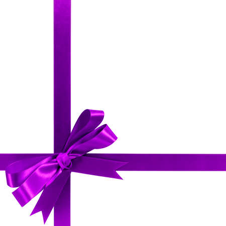 Purple gift ribbon bow horizontal corner cross shape isolated on white. Stockfoto