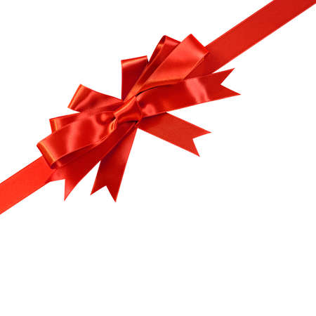 Corner diagonal red bow gift ribbon isolated on white 免版税图像
