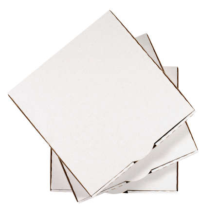 Small stack of blank pizza boxes isolated on a white background. Banco de Imagens