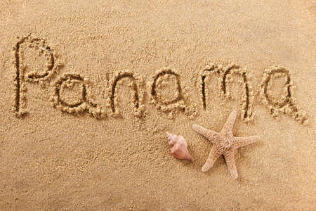Panama beach word written in sand vacation concept 스톡 콘텐츠