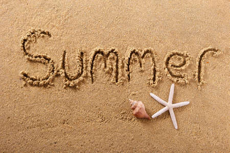 Summer beach word written in sand