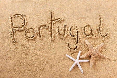 Portugal algarve hand written beach word travel concept