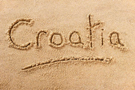 Croatia hand written beach word travel concept