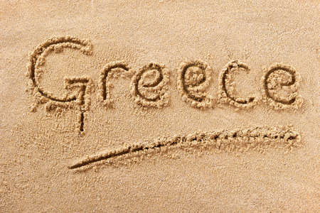 Greece hand written beach word travel concept 스톡 콘텐츠