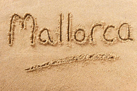 Mallorca hand written beach word travel concept
