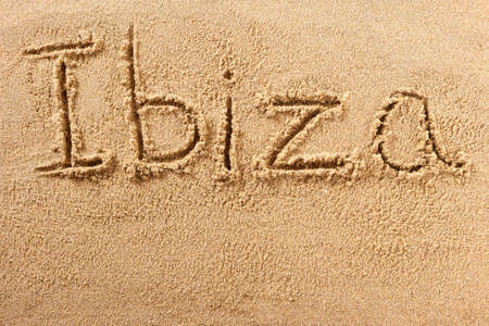 Ibiza Spain hand written beach word travel concept 스톡 콘텐츠