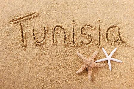Tunisia hand written beach word travel concept